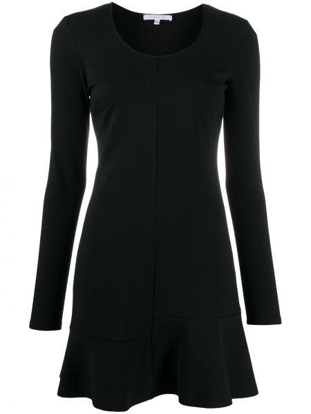 Черное расклешенное платье мини с длинными рукавами из вискозы Patrizia Pepe