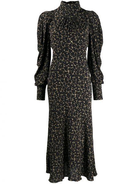 Черное с рукавами платье макси из вискозы Ba&sh