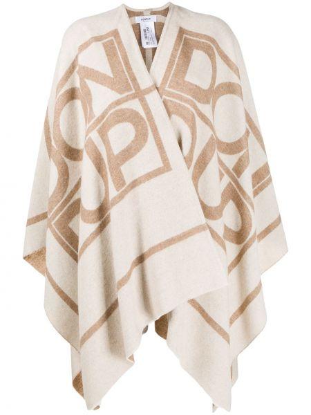 С рукавами вязаное коричневое шерстяное длинное пальто Dondup