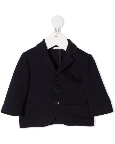Синий классический пиджак с карманами с лацканами Le Bebé Enfant
