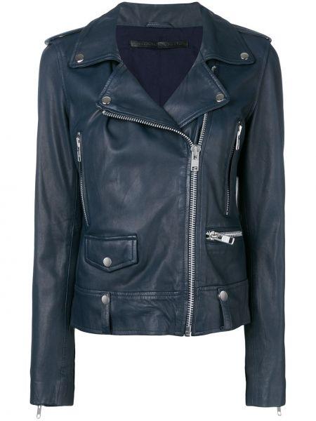 Синяя кожаная куртка байкерская Munderingskompagniet
