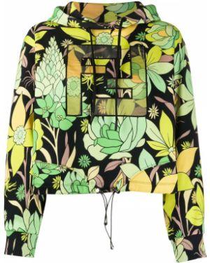 Bluza z kapturem zielony z kwiatowym nadrukiem Fendi