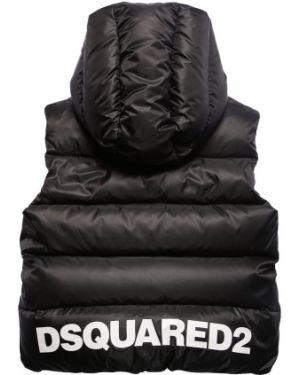Czarna kamizelka z kapturem z nylonu Dsquared2