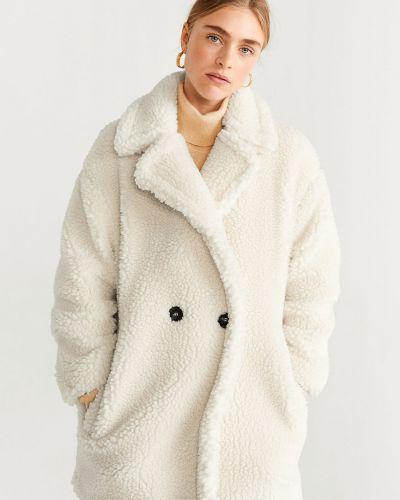 Классическая прямая куртка с капюшоном мятная на пуговицах Mango