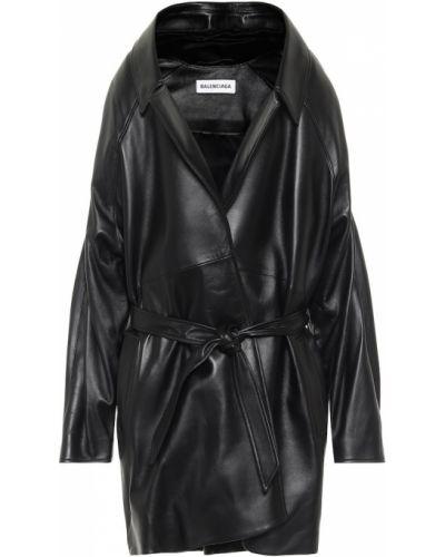 Черная кожаная куртка Balenciaga