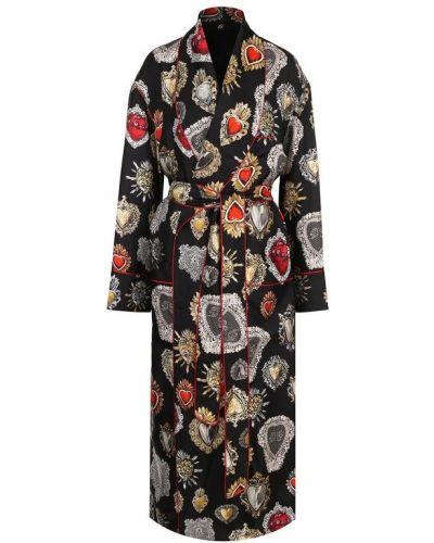 Утепленный плащ с поясом приталенный Dolce & Gabbana