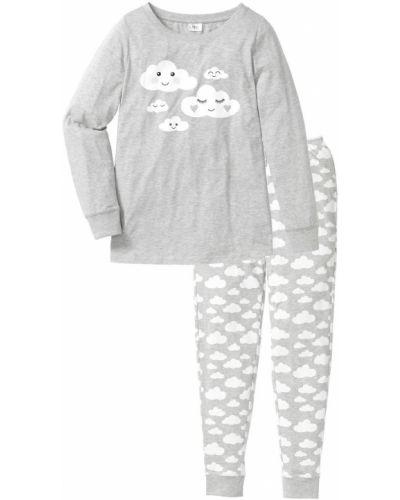 Пижама с брюками хлопковая с рисунком Bonprix