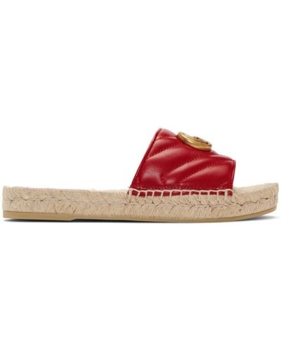 Beżowy otwarty skórzany sandały okrągły Gucci