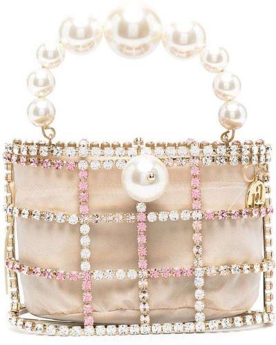 Złota beżowa kopertówka perły Rosantica
