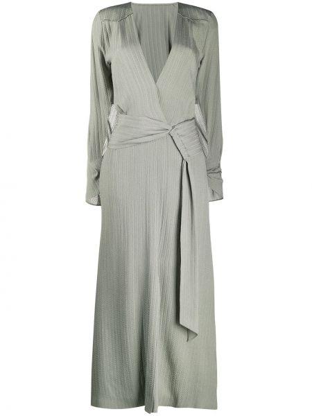Zielona sukienka długa rozkloszowana z jedwabiu Roland Mouret