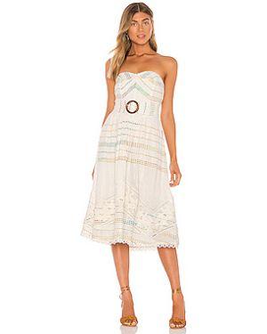 Платье миди с вышивкой с декольте Hemant And Nandita