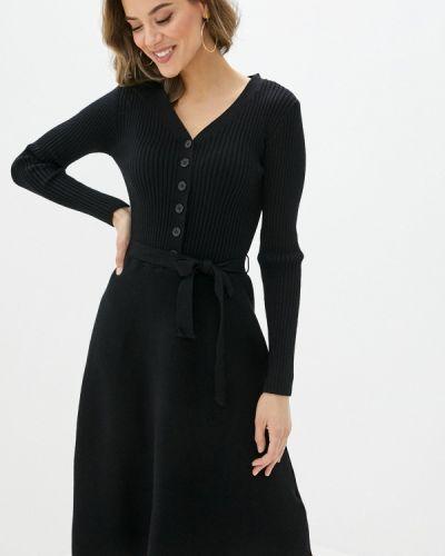 Вязаное трикотажное черное платье Yumi