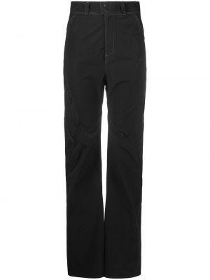 Нейлоновые прямые черные прямые брюки с высокой посадкой Hyein Seo