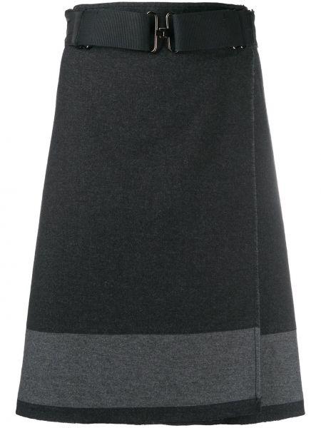 Шерстяная серая юбка с запахом Prada Pre-owned