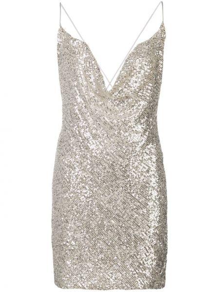 Серебряное тонкое платье с пайетками на бретелях Jay Godfrey
