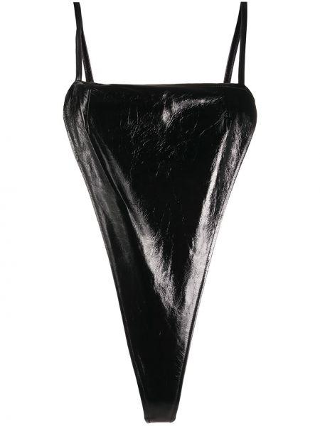 Тонкая черная юбка с вырезом на бретелях Mowalola