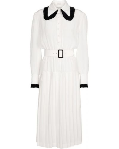 Biała sukienka midi vintage z jedwabiu Rodarte