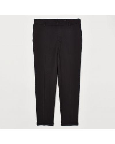 Черные зауженные укороченные брюки с карманами H&m