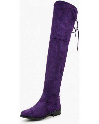 Ботфорты на каблуке фиолетовый замшевые Bellamica