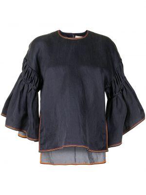 Шелковая блузка - синяя Roksanda
