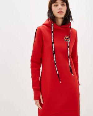 Платье платье-толстовка красный Barmariska