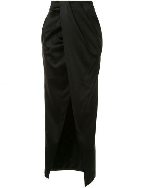 Черная нейлоновая юбка макси с запахом с карманами Manning Cartell