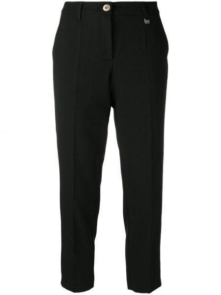 Черные укороченные брюки с поясом на пуговицах из вискозы Versace Jeans Couture