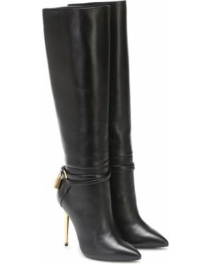 Черные сапоги на высоком каблуке до середины колена из натуральной кожи Tom Ford