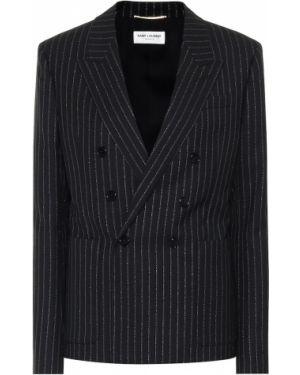 Пиджак черный с заплатками Saint Laurent