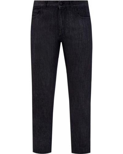 Кожаные черные джинсы классические стрейч Canali