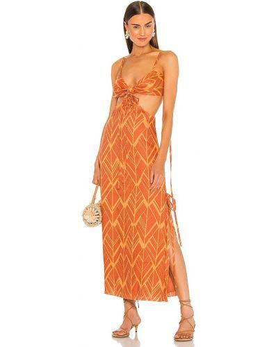 Оранжевое платье с подкладкой Alexis