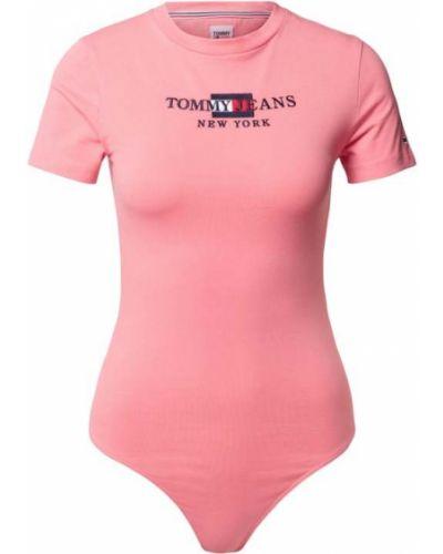 Różowy body bawełniany Tommy Jeans