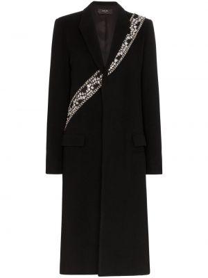 Шерстяное черное длинное пальто с карманами Amiri