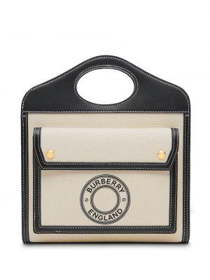 Хлопковая черная сумка-тоут на молнии с карманами Burberry