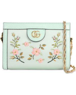 Satynowa niebieska torebka na łańcuszku z haftem Gucci