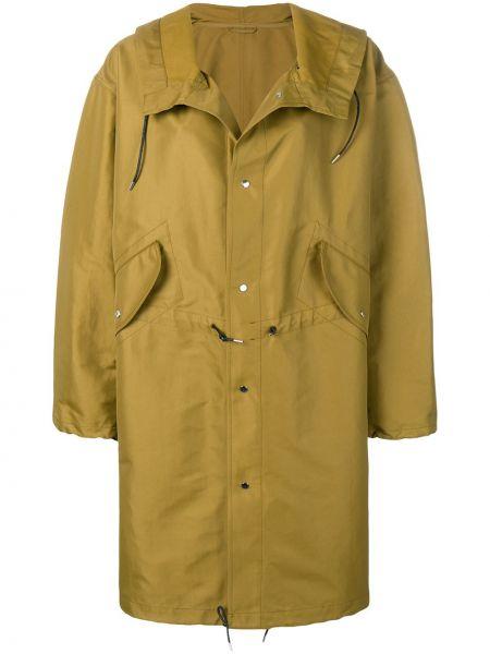 Зеленая длинное пальто с капюшоном оверсайз Golden Goose