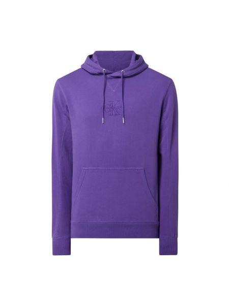 Fioletowa bluza z kapturem bawełniana Calvin Klein Jeans