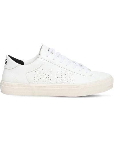Белые текстильные кожаные кроссовки с перфорацией на шнуровке P448