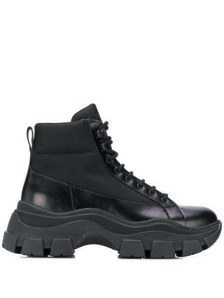 Czarny buty skórzane zasznurować na pięcie z prawdziwej skóry Prada