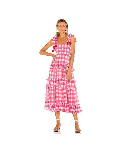 Розовое платье макси из вискозы с подкладкой Sundress