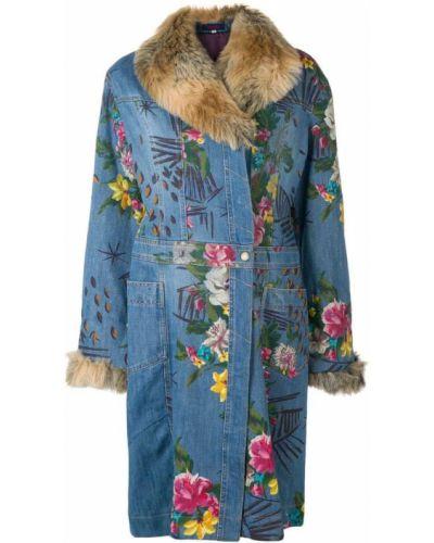 Синее длинное пальто с капюшоном Kenzo Pre-owned