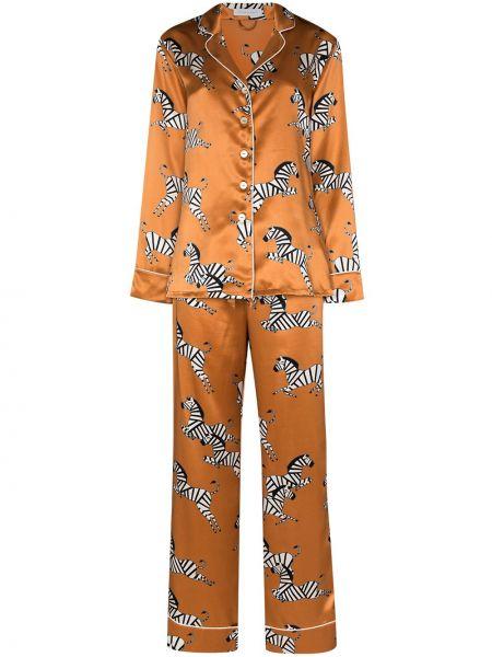 Piżama z jedwabiu - pomarańczowa Olivia Von Halle