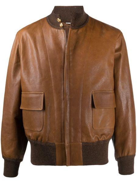 Кожаная приталенная длинная куртка с манжетами с карманами Gucci
