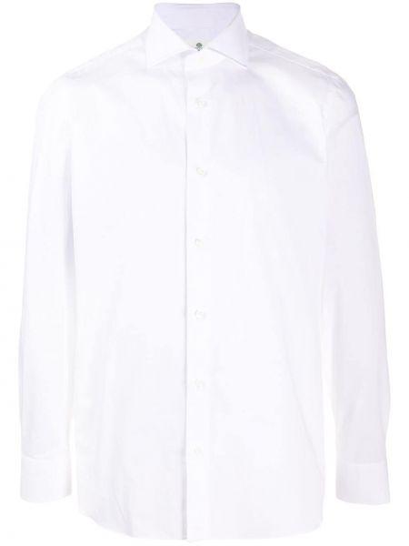 Белая прямая классическая рубашка с воротником на пуговицах Borrelli