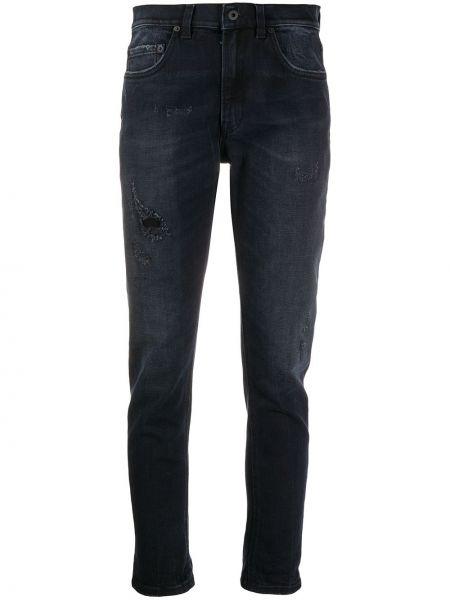 Хлопковые черные джинсы на молнии узкого кроя Dondup