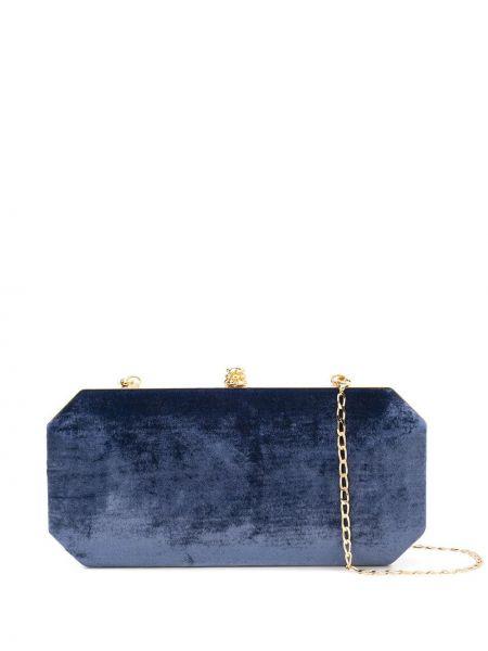 Темно-синяя шелковая сумка через плечо с перьями с карманами Tyler Ellis