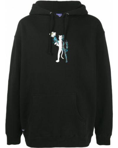 Bawełna czarny bluza z kapturem z kapturem z długimi rękawami Ripndip