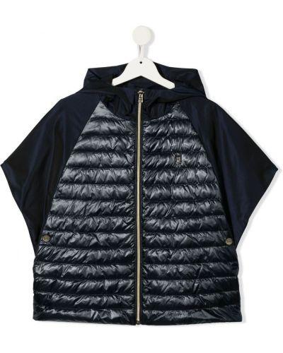 Синяя короткая куртка с капюшоном на молнии Herno Kids