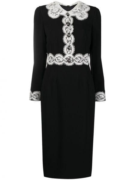 Шелковое кружевное черное платье миди Dolce & Gabbana
