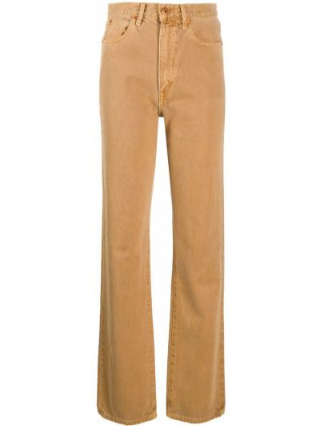 Хлопковые с завышенной талией коричневые прямые джинсы на молнии Slvrlake